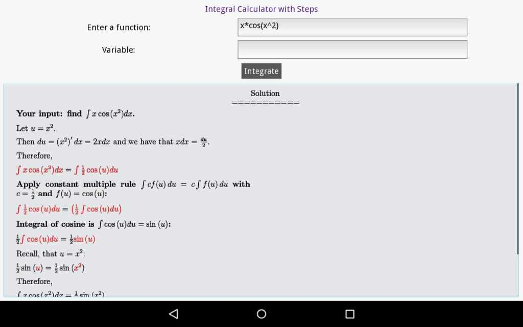 Integral Calculator With Steps